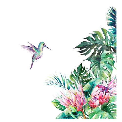 Beautiful Tropical Plants & Bird Wall Mural Decal