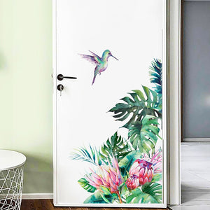 Vibrant & Colorful Tropical Plants Flowers Door & Wall Mural, Decal