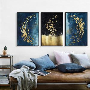 Stunning Three Panel Abstract Art Piece Framed Canvas for Home & Business Decor