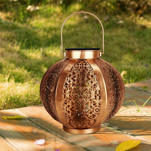 Retro Patterned Solar Lamp for Indoor/Outdoor