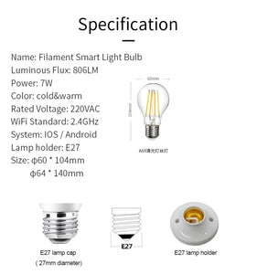App Controlled WIFI Dimmable Bulb 7.5W