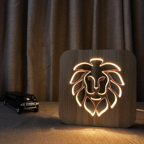 Creative 3D Lion Wooden Desk Lamp Nighttime for Home Decor