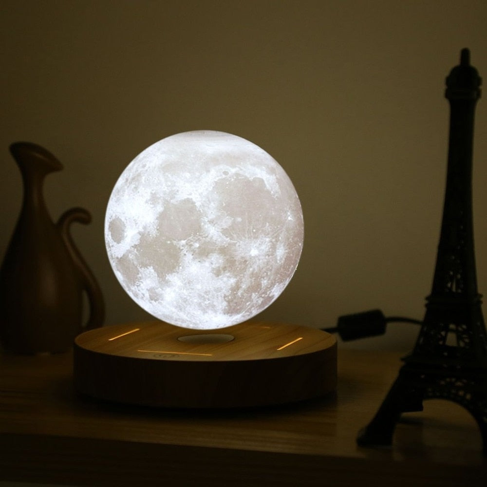 Levitating 3D Moon Lamp with Wooden Base, Multicolor, 2 Brightness Levels