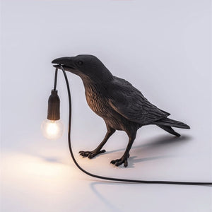White Bird Table Lamps Resin Crow Desk LED Bedroom Wall Sconce Light Fixtures