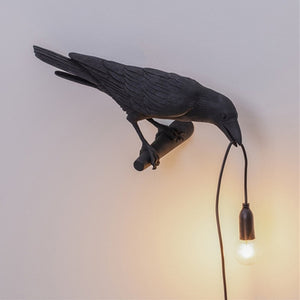 Perched Bird Lamp Wall Light Resin Crow Wall Sconce Bedroom Bedside Table Lamps