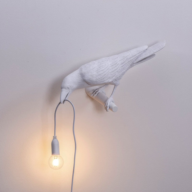 White Perched Bird Table Lamps Resin Crow Desk Lamp Bedroom Wall Sconce Light