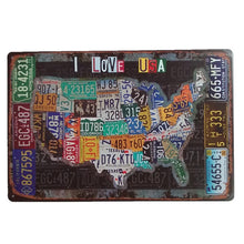 Load image into Gallery viewer, USA States, Car Number Plates, Vintage Metal Sign, Distressed Nostalgic Appeal
