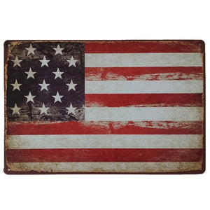 Vintage Metal Tin Sign, USA, America, Distressed, Rustic Appeal