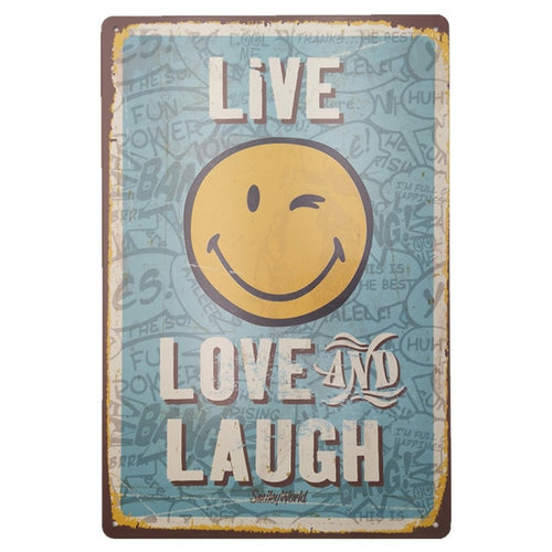 Metal Tin Sign Classical Retro Live Love and Laugh Sign Vintage