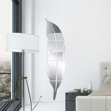 Load image into Gallery viewer, Silver Tall 3D Feather Wall Mirror Sticker, Remove Art Decal Mural