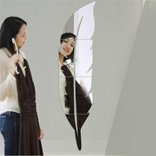 Load image into Gallery viewer, Removable Acrylic Feather Wall Sticker Mural w/ Mirror