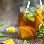 Green tea with ginger and orange