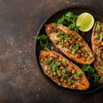 Baked sweet potato with chickpeas and tahini