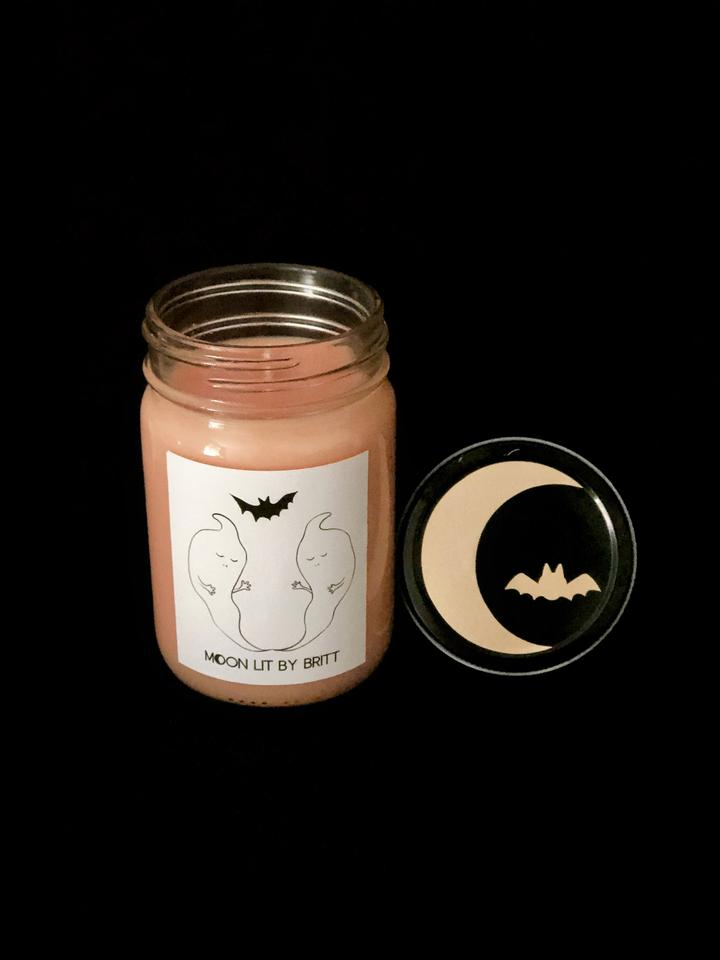 toasted pumpkin moon lit by britt soy wax ritual candle sustainable zero waste san diego