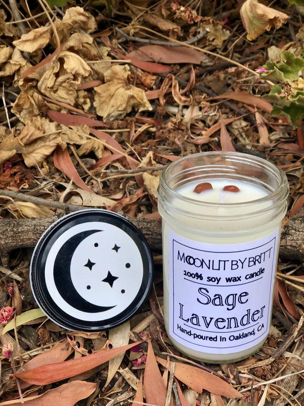 sage lavender moon lit by britt zero waste ritual soy wax candle san diego