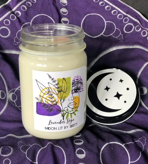 moon lit by britt lavander sage zero waste ritual candle sustainable san diego