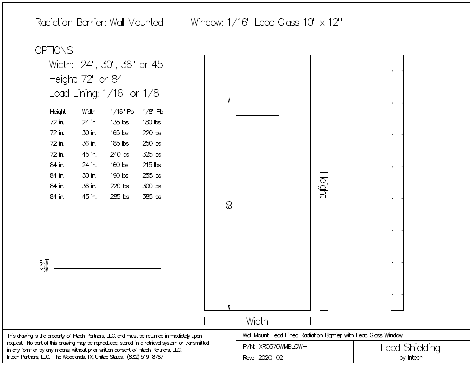 Wall Mount Lead Radiation Barrier With Window