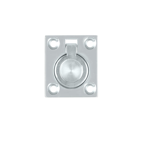 Cabinet Flush Ring Pull 35x48mm Chrome