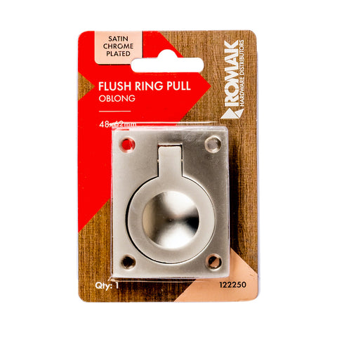 Cabinet Flush Ring Pull 48x62mm Satin Chrome