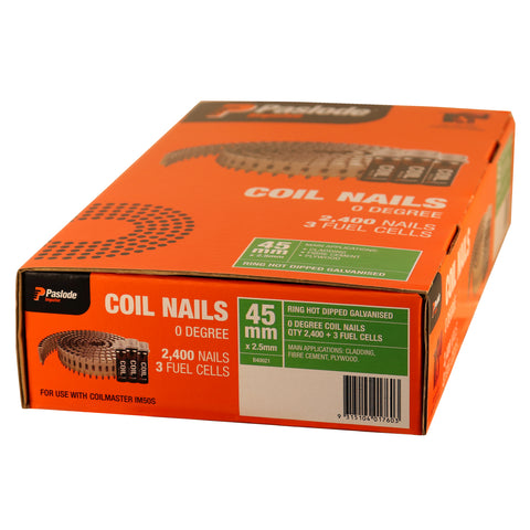 Coil Nails Ring Galv 45mm Fuel Pack