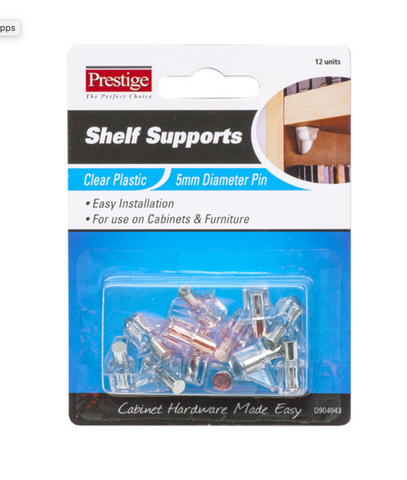 Shelf Supports Clear Plastic