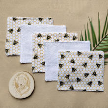 Load image into Gallery viewer, Fox & Bobbin - Reusable Terry Wipes - Set Of 5 - Various Prints