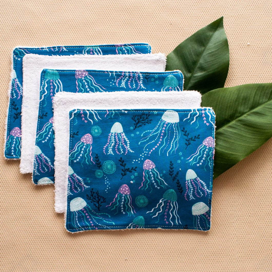 Fox & Bobbin - Reusable Terry Wipes - Set Of 5 - Various Prints