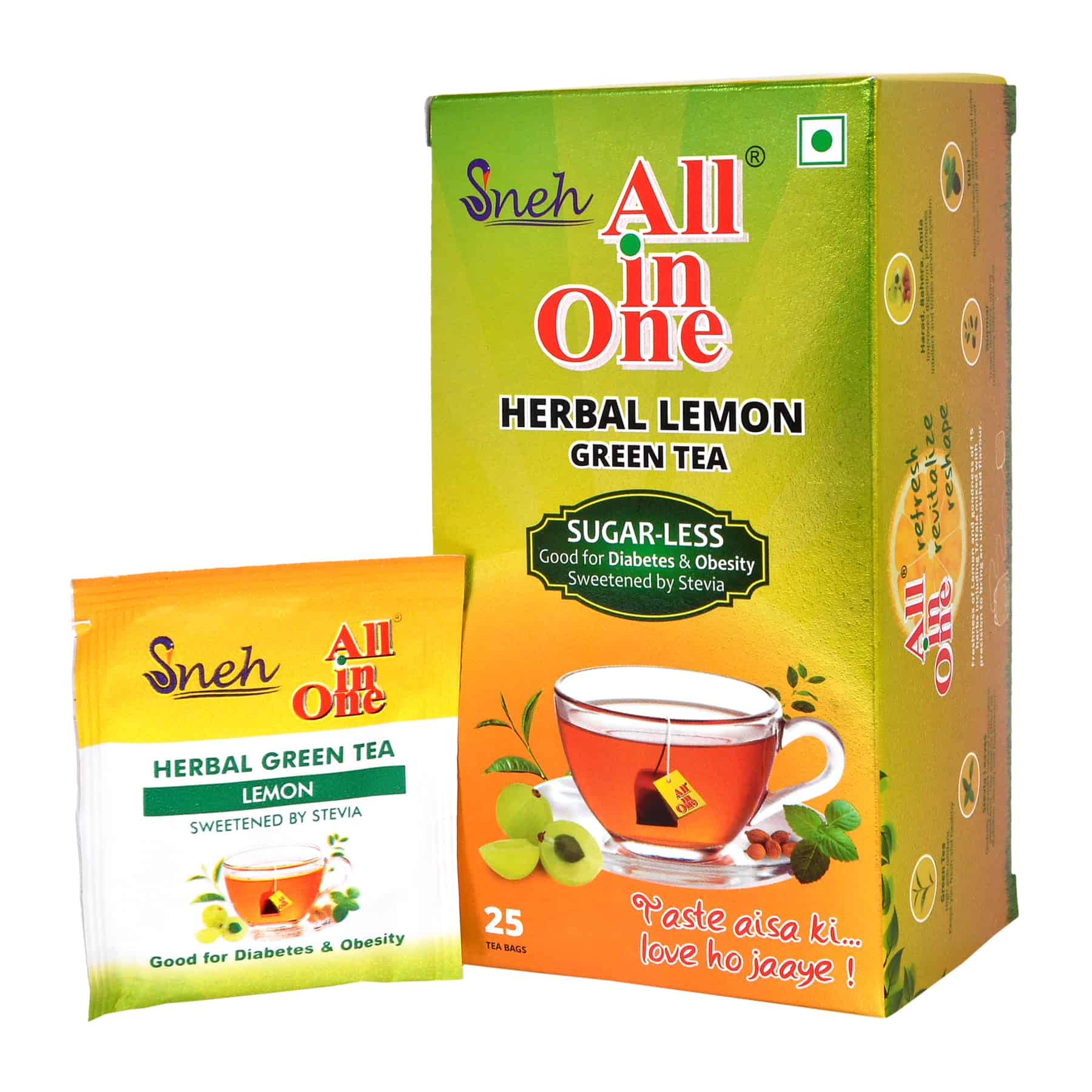 SNEH- Herbal Lemon Green Tea (Sugar less sweetened with Stevia)- Pack of 8