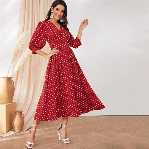 SHEIN Burgundy Polka Dot Maxi Dress