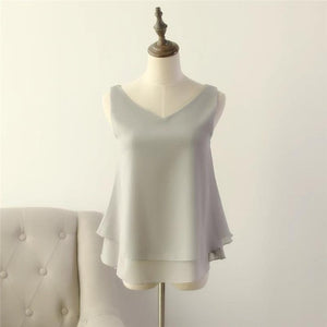 2020 Fashion Brand Women's blouse Tops Summer sleeveless Chiffon