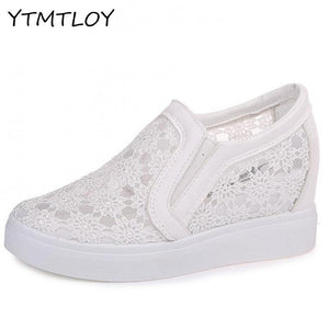 Air Mesh Floral Platform Shoes