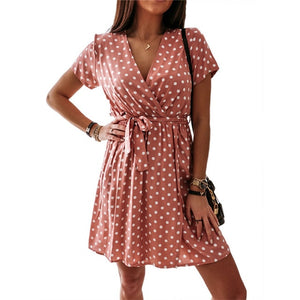 Summer Casual V-Neck Polka Dot Dress