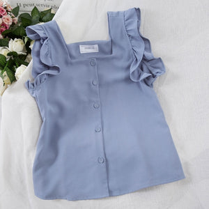Ruffled Blouse Square Neck Summer Top Chiffon Blouse