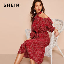 Load image into Gallery viewer, SHEIN Off Shoulder Polka Dot Midi Dress