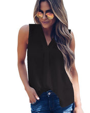 Load image into Gallery viewer, women casual sleeveless V-neck black loose blouse