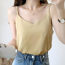 Load image into Gallery viewer, Korean Fashion Chiffon Tops Woman V Neck Blouse Top Summer Women Sleeveless Blouse