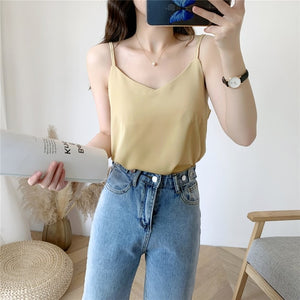 Korean Fashion Chiffon Tops Woman V Neck Blouse Top Summer Women Sleeveless Blouse