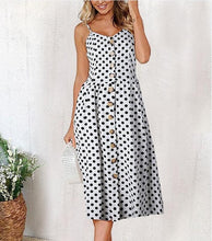 Load image into Gallery viewer, Vintage Casual Midi Button Dress