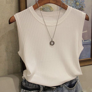 Knitted Vests Women Sleeveless Blouse