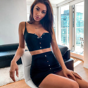 Sytiz Sexy Ribbed Strap Sleeveless Two-Piece OutFit
