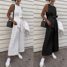 Load image into Gallery viewer, Women Long Jumpsuits 2020 Vintage Linen Sleeveless Celmia Solid O-neck Buttons Wide Leg Playsuits Casual Loose Overalls
