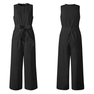 Women Long Jumpsuits 2020 Vintage Linen Sleeveless Celmia Solid O-neck Buttons Wide Leg Playsuits Casual Loose Overalls