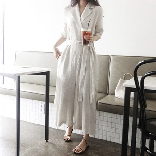 New Autumn Jumpsuits Casual Cotton and Linen Wide Leg Ankle-Length