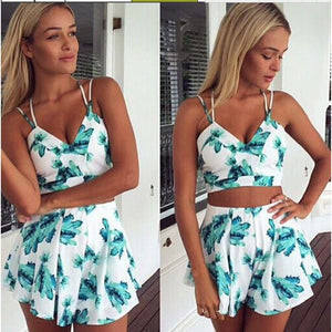 Summer Print V Neck Women Sets Fashion Ruffle Two-Piece OutFit