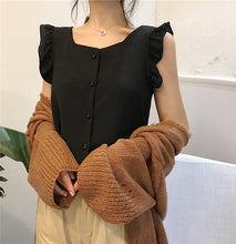 Load image into Gallery viewer, Ruffled Blouse Square Neck Summer Top Chiffon Blouse