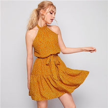Load image into Gallery viewer, SHEIN Summer Halterneck Polka Dot Casual Dress