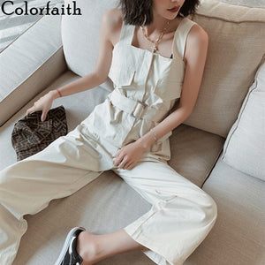 Colorfaith 2020 New Summer Women Jumpsuits Casual Strap High Waist Wide Leg