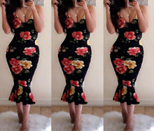 Load image into Gallery viewer, Sexy Strap Floral fishtail Dress
