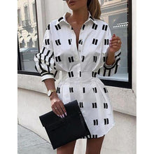 Load image into Gallery viewer, Turn Down Loose Tunic Shirt Dress