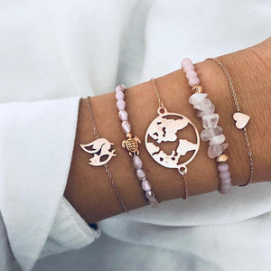 5 Pcs/Set Fox Sea Turtle Charm Bracelet